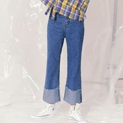 MIKPO - Washed Boot Cut Jeans