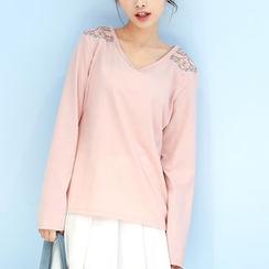 布衣天使 - 刺绣长袖T恤