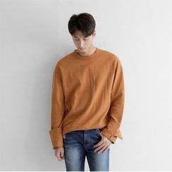 Seoul Homme - Round-Neck Turn-Up Sleeve T-Shirt
