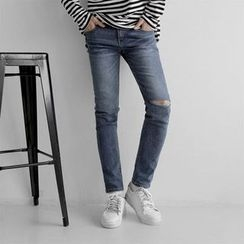 Seoul Homme - Slit-Knee Washed Straight-Cut Jeans