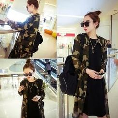 QZ Lady - Camouflage Print Long Chiffon Shirt