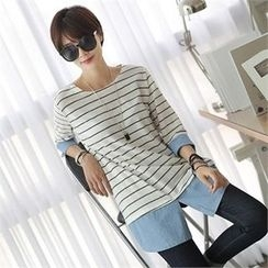 CHICFOX - Layered-Trim Striped T-Shirt