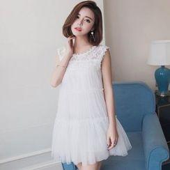 SUYISODA - Lace Panel Mesh Sleeveless Dress