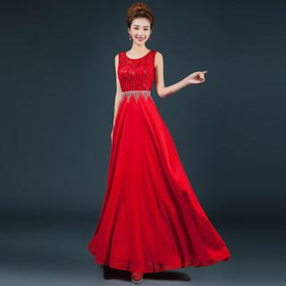 Royal Style - Sleeveless Lace A-Line Evening Gown