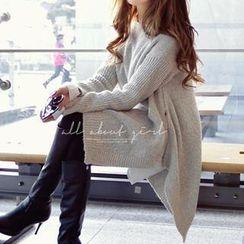 REDOPIN - Zipper-Detail Loose-Fit Sweater