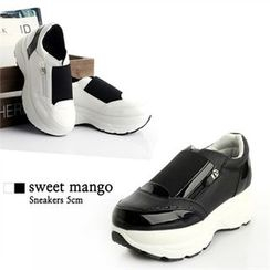 SWEET MANGO - Two Tone Zip-Trim Sneakers