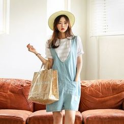 Seoul Fashion - Pocket-Front Denim Playsuit