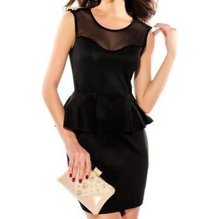 Sexy Romantie - Sleeveless Studded Mesh Yoke Peplum Dress