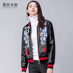 Cloudwood - Embroidered Faux Leather Jacket
