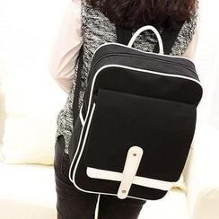 QeQ - Contrast-Trim Canvas Backpack