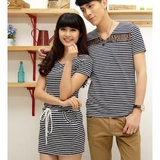 Porspor - Short-Sleeve Dotted Striped Couple T-Shirt Dress