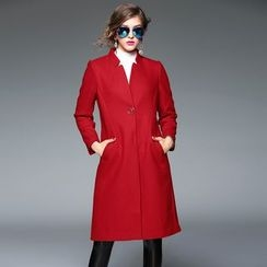 Y:Q - Stand Collar Wool Blend Coat
