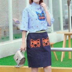 Shiga - Set : Monster Print Elbow-Sleeve Top + Skirt