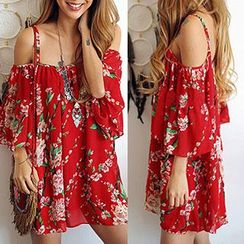 Rebecca - Floral Print Off-shoulder Strap Chiffon Dress