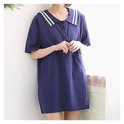 Sechuna - Half-Placket Shift Mini Dress