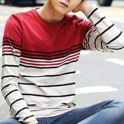 HANDA - Stripe Colour Block Long-Sleeve T-shirt
