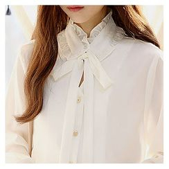 Sechuna - Tie-Neck Frilled-Detail Blouse
