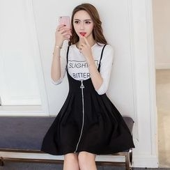 Cherry Dress - Set: Letter T-shirt + Strap Dress