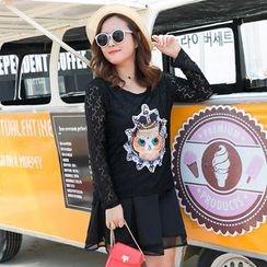Amizi - Long-Sleeve Lace Panel T-Shirt