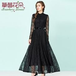 Strawberry Flower - Long-Sleeve Lace Dress