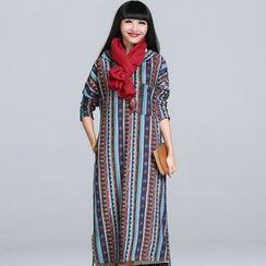 Jolly Club - Long-Sleeve Fleece-Lined Printed Hooded Dress