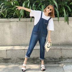 Napkiki - Cropped Wide-Leg Suspender Jeans