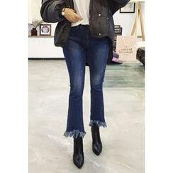 OZNARA - Fringe-Hem Washed Boot-Cut Jeans