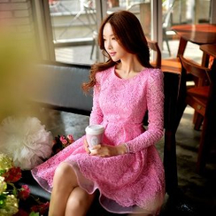 粉紅大布娃娃 - 長袖蕾絲連衣裙