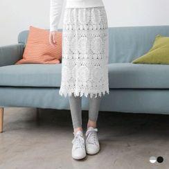 OrangeBear - 蕾絲長裙拼接假兩件內搭褲