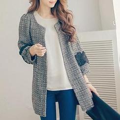 Tokyo Fashion - Crochet-Appliqué Tweed Coat