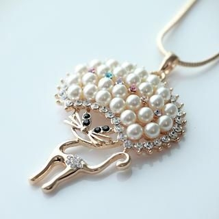 Cuteberry - Faux-Pearl Cat Necklace