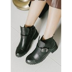 GOROKE - Buckled Chunky-Heel Ankle Boots