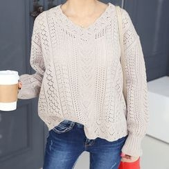DANI LOVE - V-Neck Pointelle Knit Top