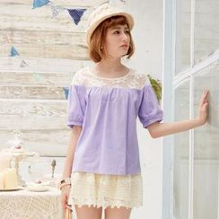 Tokyo Fashion - Lace-Yoke Short-Sleeve Top