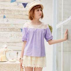 Tokyo Fashion - Lace-Yoke Short-Sleeve Top