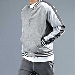 THE COVER - Contrast-Trim Wool Blend Baseball Jacket