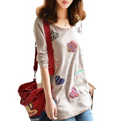 LunarS - Long-Sleeve Applique T-Shirt