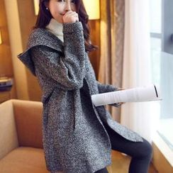 anzoveve - Mélange Hood Long Knit Jacket