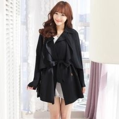 2fb - Double-Breasted Cape Trench Coat