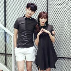 TOOI - Couple Matching Contrast Trim Short Sleeve Polo Shirt / Short Sleeve Polo Shirt Dress