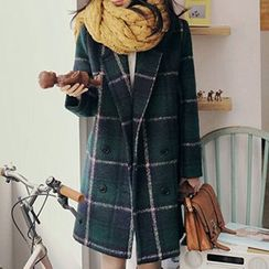 Rocho - Plaid Woolen Coat