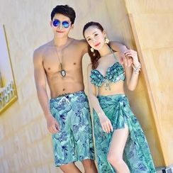 Roseate - Couple Matching Printed Bikini + Cover-up / Swim Shorts