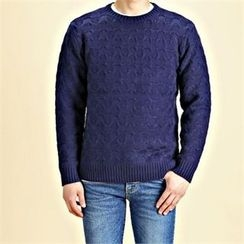 THE COVER - Crew-Neck Waffle-Knit Sweater