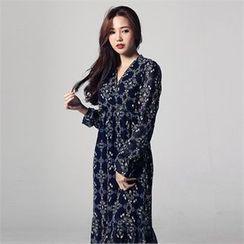 JVLLY - Wrap-Front Frill-Hem Flower Pattern Long Dress