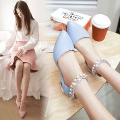 Shoes Galore - Rhinestone Strap Pointy Flats