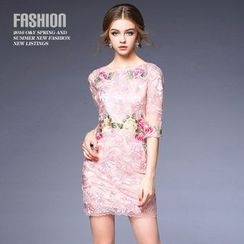 Ozipan - Elbow-Sleeve Embroidered-Flower Lace Dress