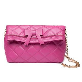 MBaoBao - Bow-Accent Zip-Trim Quilted Cross Bag