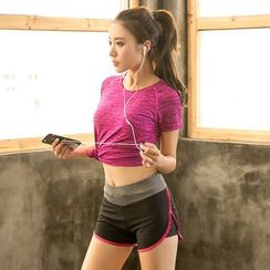 PUDDIN - Sports Set: Short-Sleeve Top + Piped Shorts