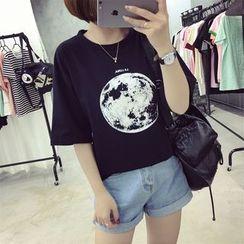 Ukiyo - Printed Elbow-Sleeve T-Shirt