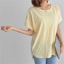 PIPPIN - Short-Sleeve Asymmetric-Hem Cotton T-Shirt